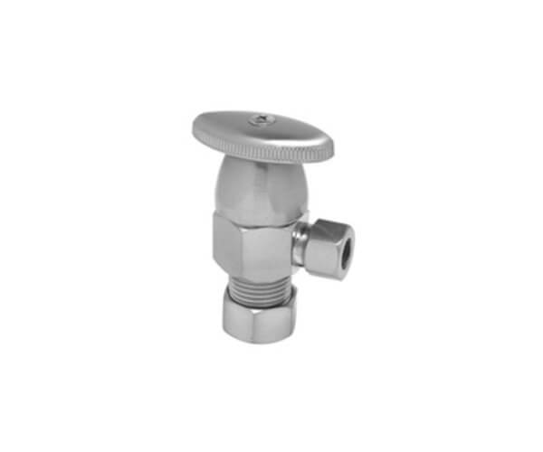 """Deluxe Brass Oval Handle Angle Valve - (5/8"""" O.D.) 1/2"""" Compression Inlet x 3/8"""" O.D. Compression Outlet"""