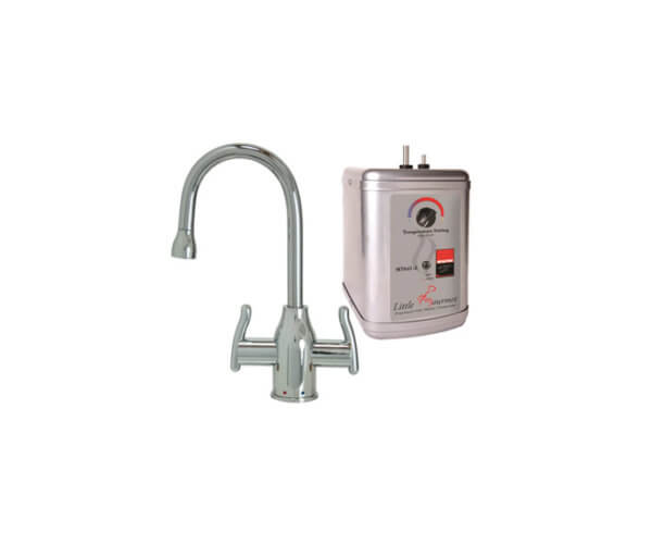 Hot & Cold Water Faucet with Modern Curved Body & Handles & Little Gourmet¨ Premium Hot Water Tank
