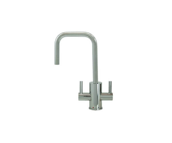 Hot & Cold Water Faucet with Contemporary Round Body & Handles (90° Spout)