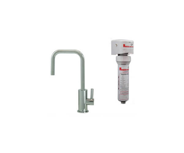 Point-of-Use Drinking Faucet with Contemporary Round Body & Handle (90° Spout) & Mountain Pure¨ Water Filtration System